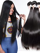 Недорогие -3 Связки Бразильские волосы Прямой Натуральные волосы Человека ткет Волосы / Накладки из натуральных волос 8-28 дюймовый Ткет человеческих волос Без шапочки-основы