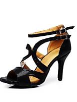 baratos -Mulheres Sapatos de Dança Latina Couro Ecológico Salto Salto Alto Magro Sapatos de Dança Preto / Ensaio / Prática