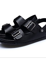 cheap -Men's Nappa Leather Summer Comfort Sandals Black