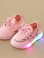 Недорогие -Девочки Обувь Сетка / Полиуретан Весна лето Удобная обувь Спортивная обувь Для прогулок LED для Дети (1-4 лет) Белый / Черный / Розовый