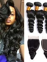 Недорогие -3 комплекта с закрытием Бразильские волосы Волнистый Натуральные волосы One Pack Solution / Волосы Уток с закрытием 8-22 дюймовый Ткет человеческих волос 4x4 Закрытие