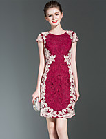 cheap -SHIHUATANG Women's Vintage / Sophisticated Sheath Dress - Color Block Embroidered