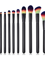 abordables -Paquete de 10 Pinceles de maquillaje Profesional Maquillaje Fibra de nilón Confortable Madera / Bambú
