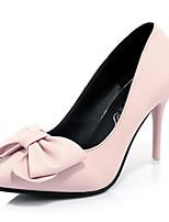 billige -Dame Sko PU Sommer Basispumps Hæle Stilethæle Spidstå Rosette Sort / Blå / Lys pink