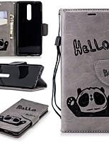 Недорогие -Кейс для Назначение Nokia Nokia 5.1 / Nokia 3.1 Кошелек / Бумажник для карт / со стендом Чехол Панда Твердый Кожа PU для Nokia 5 / Nokia 5.1 / Nokia 3