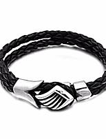 Недорогие -Муж. Стильные / переплетенный Loom браслет - Кожа, Титановая сталь, нержавеющий Креатив Стиль, европейский, модный Браслеты Черный Назначение Для улицы / На выход