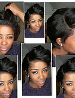 cheap -Remy Human Hair Full Lace Wig Brazilian Hair Body Wave Wig Bob Haircut / Layered Haircut 130% Natural Hairline / Side Part / African American Wig Natural Women's Short Human Hair Lace Wig
