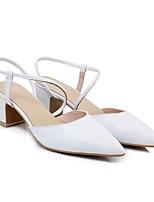 Недорогие -Жен. Обувь Наппа Leather Весна лето Удобная обувь Обувь на каблуках На толстом каблуке Белый / Черный / Миндальный