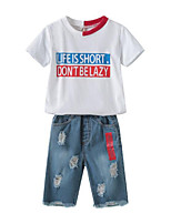 cheap -Kids Boys' Print / Patchwork Short Sleeve Clothing Set