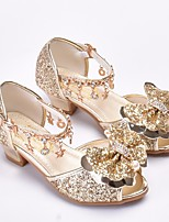 cheap -Girls' Shoes Synthetics Summer Flower Girl Shoes / Tiny Heels for Teens Sandals for Gold / Silver / Pink