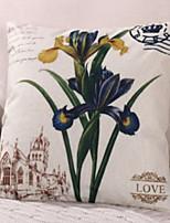 Недорогие -1 штук Хлопок / Лён Наволочки, Цветочный принт Цветы