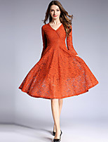 cheap -SHIHUATANG Women's Vintage / Sophisticated A Line Dress - Solid Colored Lace