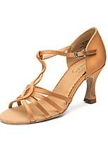 Недорогие -Жен. Обувь для латины / Бальные танцы Полиуретан Кроссовки Толстая каблук Танцевальная обувь Золотой / Черный / Коричневый