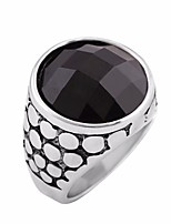 cheap -Men's Black Gemstone Vintage Style Ring - Titanium Steel, Stainless Creative Stylish, Vintage, European 7 / 8 / 9 Silver For Wedding / Party