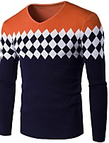 cheap -Men's Basic Pullover - Geometric / Color Block