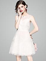 baratos -Mulheres Básico / Moda de Rua Vestidinho Preto Vestido - Franjas, Sólido Acima do Joelho Preto & Branco