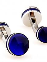 baratos -Formato Circular Azul Botões de Punho Cobre MOON Formal / Elegante Homens Jóias de fantasia Para Profissional / Escritório e Carreira