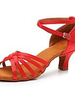 cheap -Women's Latin Shoes Satin Heel Cuban Heel Customizable Dance Shoes Red