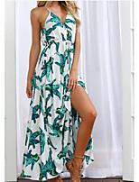 abordables -Femme Plage Bohème / Chic de Rue Coton Mince Balançoire Robe - Imprimé, Fleur Taille haute V Profond Maxi / Eté