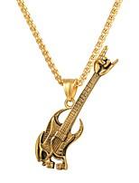 baratos -Homens Fashion Colares com Pendentes - Aço Inoxidável Guitarra Rock, Fashion Dourado, Preto, Prata 55 cm Colar Jóias 1pç Para Presente, Diário