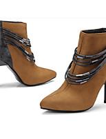 Недорогие -Жен. Обувь Полиуретан Осень / Зима Удобная обувь / Модная обувь Ботинки На шпильке Ботинки Черный / Темно-русый