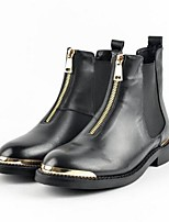 cheap -Women's Shoes Nappa Leather Spring Combat Boots Boots Flat Heel Round Toe Booties / Ankle Boots Black