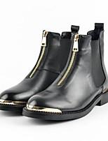 baratos -Mulheres Sapatos Pele Napa Primavera Coturnos Botas Sem Salto Ponta Redonda Botas Curtas / Ankle Preto
