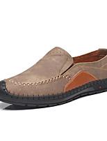 cheap -Men's Moccasin Microfiber Spring Loafers & Slip-Ons Black / Light Brown / Khaki