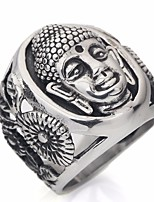 cheap -Men's Vintage Style / Classic Statement Ring - Titanium Steel Head, Faith Statement, Asian, Unique Design 7 / 8 / 10 Silver For Street / Festival