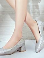 baratos -Mulheres Sapatos Sintéticos Primavera Conforto Saltos Salto Robusto Dourado / Prateado