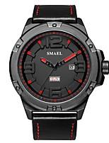 Недорогие -SMAEL Муж. Спортивные часы Наручные часы Японский Японский кварц 50 m Защита от влаги Календарь Повседневные часы Натуральная кожа Группа Аналоговый На каждый день Мода Черный -