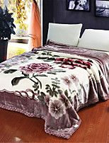 cheap -Coral fleece, Pigment Print Floral Cotton / Polyester Blankets