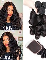 cheap -3 Bundles with Closure Malaysian Hair Loose Wave Unprocessed Human Hair / Human Hair Gifts / Natural Color Hair Weaves / Hair Bulk / Tea Party Favors 8-20 inch Natural Color Human Hair Weaves 4x4