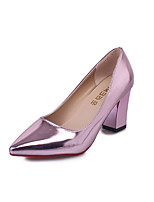 cheap -Women's Shoes Patent Leather Summer Basic Pump Heels Chunky Heel Pointed Toe Gold / Silver / Pink