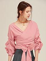 cheap -Women's Cotton Blouse - Solid Colored