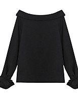 cheap -women's blouse - solid colored crew neck