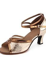 Недорогие -Жен. Обувь для латины Искусственная кожа Сандалии Кубинский каблук Персонализируемая Танцевальная обувь Золотой