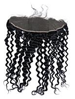 cheap -CARA Deep Wave 4x13 Closure Wavy Free Part French Lace Human Hair Women's
