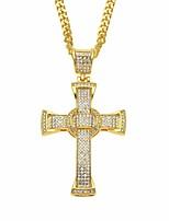 cheap -Men's Cubic Zirconia Classic / Cuban Link Pendant Necklace / Chain Necklace - Cross, Faith Classic, European, Hip-Hop Gold, Silver 70 cm Necklace 1pc For Street, Festival