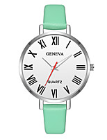 baratos -Geneva Mulheres Relógio de Pulso Chinês Novo Design / Relógio Casual / Legal Couro Banda Casual / Fashion Verde / Rosa / Bege