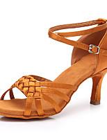 cheap -Women's Latin Shoes Satin Heel Slim High Heel Customizable Dance Shoes Dark Brown