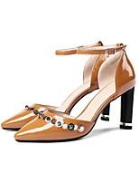 Недорогие -Жен. Обувь Лакированная кожа Лето Туфли лодочки Обувь на каблуках На толстом каблуке Черный / Коричневый