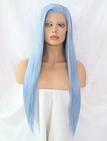 Недорогие -Синтетические кружевные передние парики Прямой Боковая часть Искусственные волосы Типы Синий Парик Жен. Длинные Лента спереди Светло-синий / Да