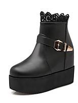 Недорогие -Жен. Обувь Полиуретан Наступила зима Удобная обувь Ботинки Микропоры Белый / Черный