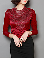 cheap -Women's T-shirt - Solid Colored / Floral / Color Block Lace / Patchwork