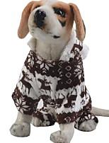 baratos -Cachorros / Gatos Macacão Roupas para Cães Animal / Formais Café / Azul / Rosa claro Tecido Felpudo Ocasiões Especiais Para animais de estimação Masculino / Feminino Aquecimento / Natal