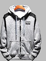 cheap -Men's Hoodie - Solid Colored / Color Block / Letter, Print