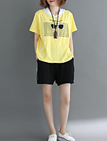 cheap -Women's Cotton T-shirt - Color Block / Letter