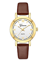 cheap -Geneva Women's Wrist Watch Quartz New Design Casual Watch Cool Leather Band Analog Casual Fashion Black / Brown - Brown / Gold White / Brown Rose Gold / White One Year Battery Life