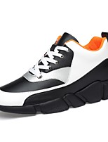 cheap -Men's Comfort Shoes Nappa Leather Spring &  Fall Sneakers Black / White
